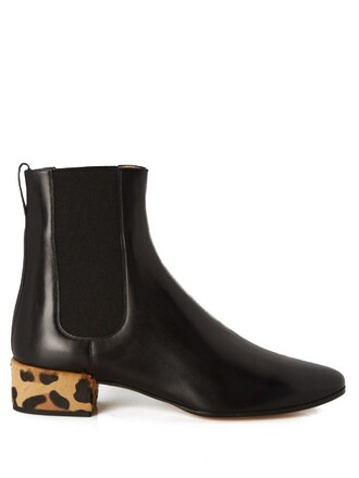 boot hair leather black shoes