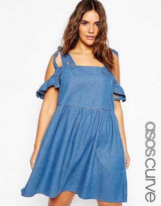 dress off the shoulder denim dress
