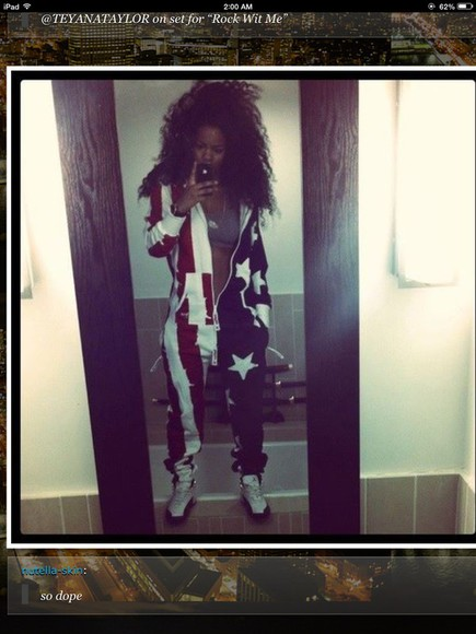 unique romper teyanna taylor red jordans jumpsuit baggy blue white stars