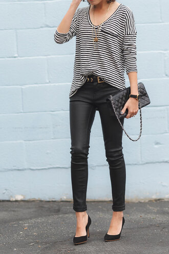 alterations needed blogger striped top pocket t-shirt quilted bag leather pants black heels rock