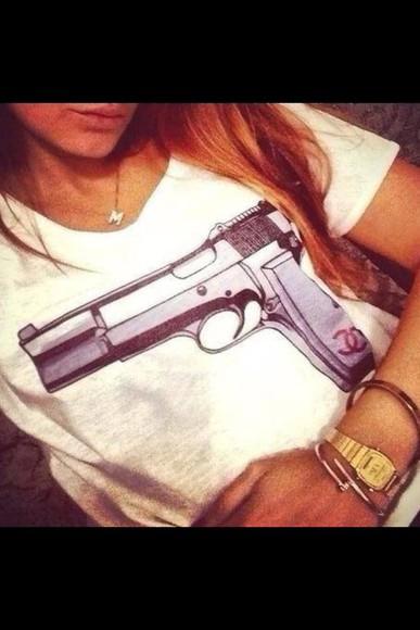 gun t-shirt shirt white fashion