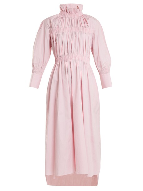 TEIJA dress long high cotton white pink
