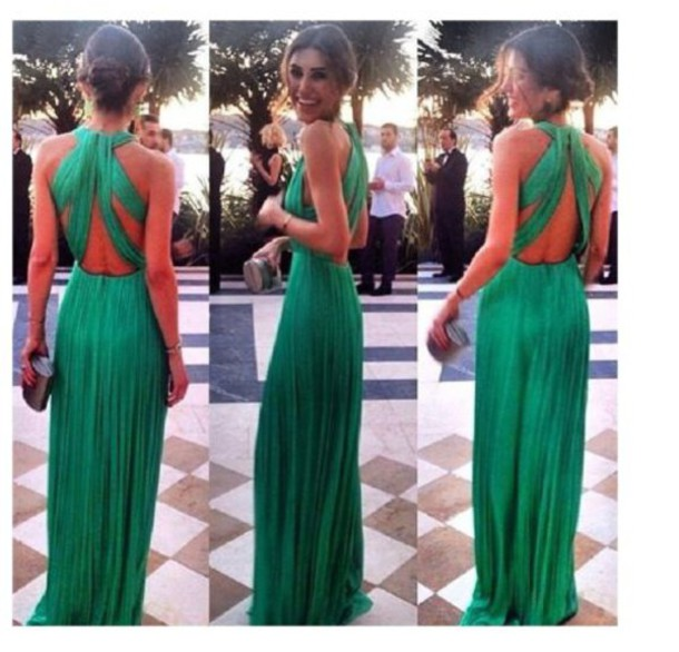 Dress prom dress green dress green backless long for Emerald green dress wedding guest