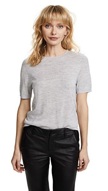 t-shirt shirt t-shirt knit pearl grey top