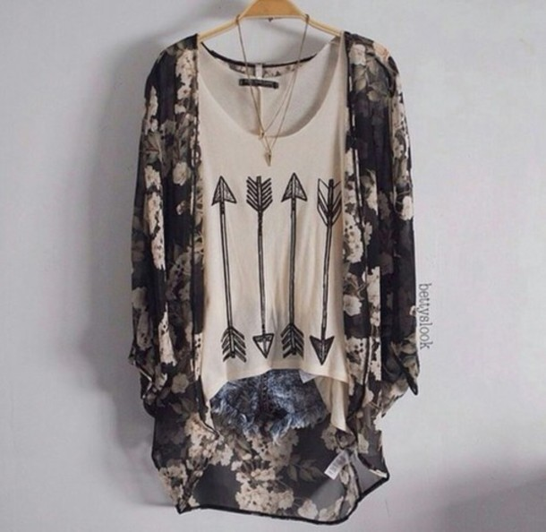 top girly tank top white beige arrow outfit vintage indie boho kimono  cardigan. 8a46a50dca