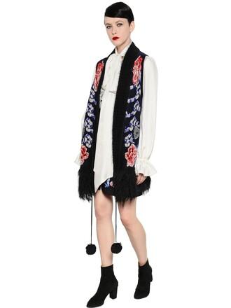 vest bohemian jacquard mohair wool black jacket