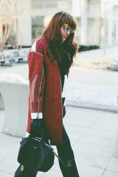 natalie off duty blogger red coat black bag sunglasses jacket sweater pants bag shoes