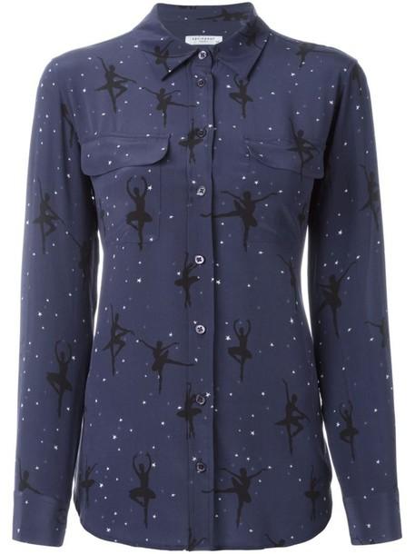 Equipment shirt women print blue silk top