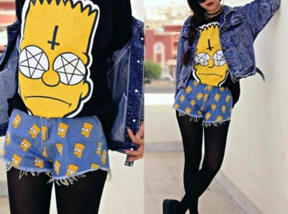 movie shirt clothes clothing shorts movies tv awesome short amazing style bye\ the simpsons simpsons shorts.