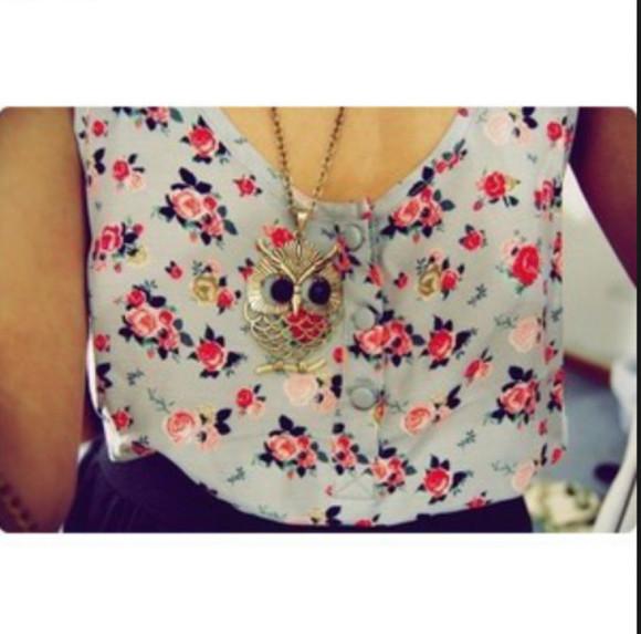 owl blouse roses