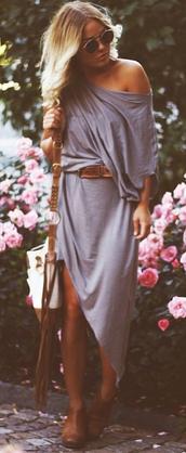dress,blouse,grey dress,t-shirt,knitted dress,off the shoulder dress,midi dress