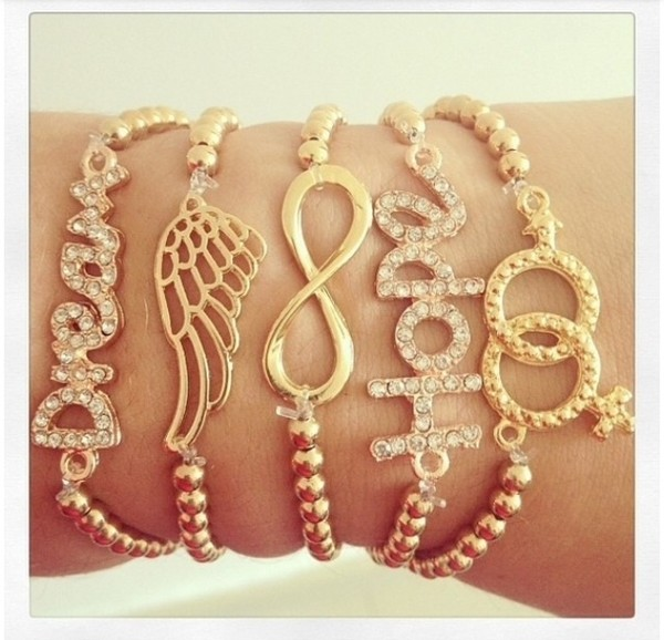 jewels bracelets gold pretty hope infinity wing ring jems