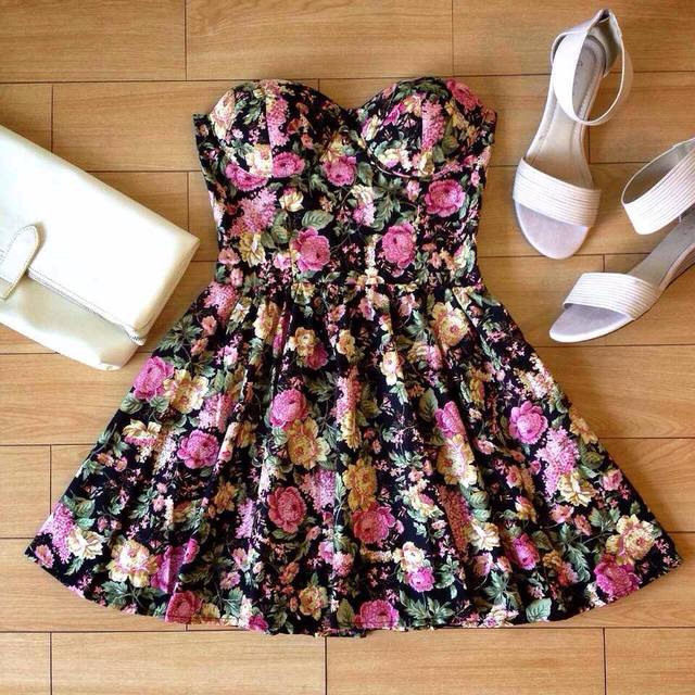 Vintage Flirty Floral Bustier Dress | eBay