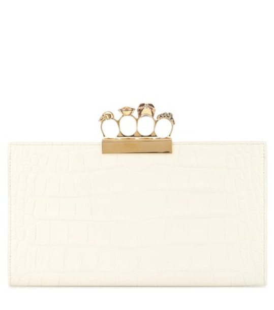 leather clutch embellished clutch leather white bag