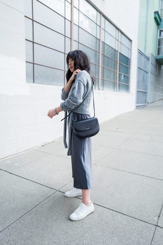 the fancy pants report blogger sweater shoes bag grey pants grey sweater shoulder bag sneakers