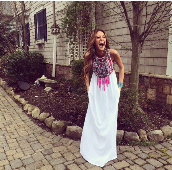 Dress: boho dress, prom dress, hippie, free people, white dress ...