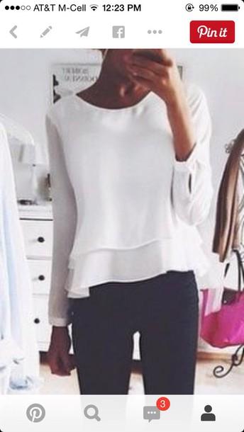 blouse peplum shirt white blouse clothes white peplum top