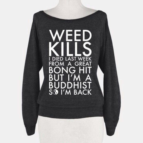 shirt black cute weed long sleeves buddhist buddha pipe
