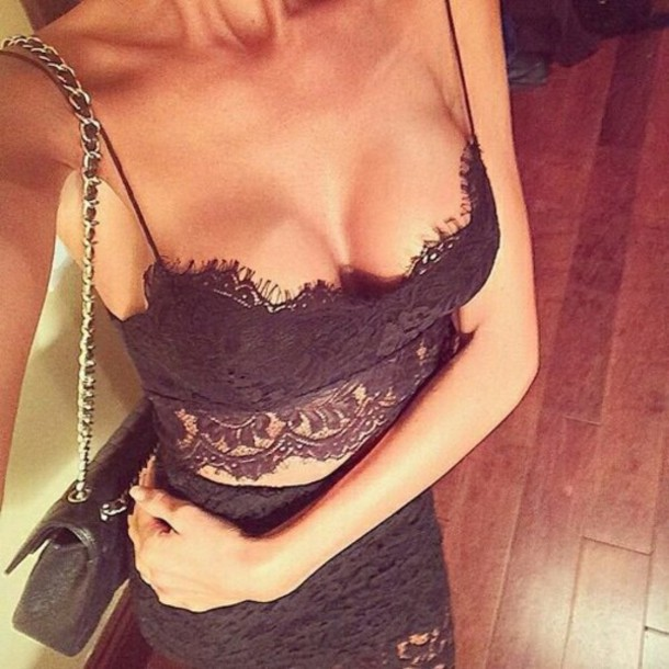 top lace bralette black