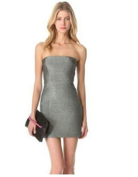 Dress: grey, bodycon dress, shimmery dress, strapless dress, mini ...