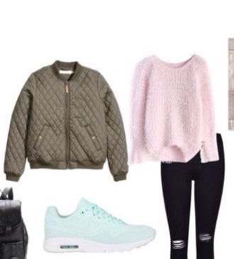 sweater pink green jacket pants black mint shoes
