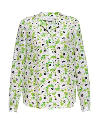 blouse floral print silk light green top