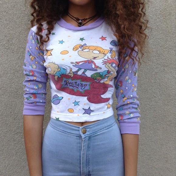adorable purple colorful longsleeve longsleeve shirt putple rugrats nickelodeon