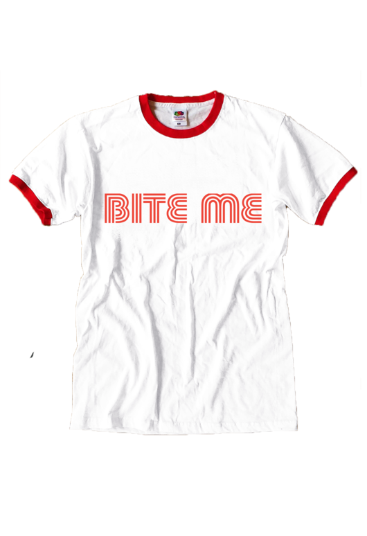 Bite Me Red Ringer T-shirt - Basic tees shop