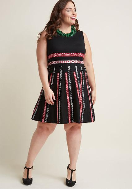 MDD1199 dress sweater dress retro sleeveless black knit red