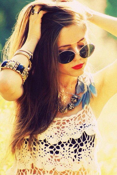 sunglasses round sunglasses hippie top summer dress tumblr outfit brunette