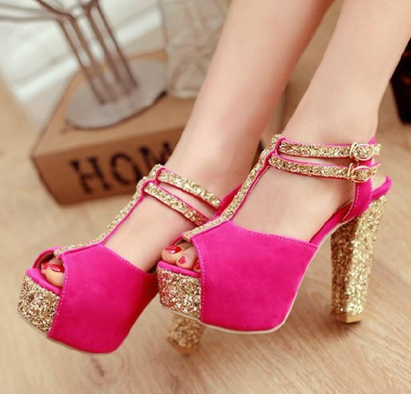 shoes high heels gold glitter shoes pink glitter