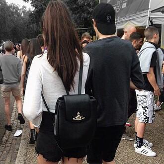 bag leather backpack black vivienne westwood
