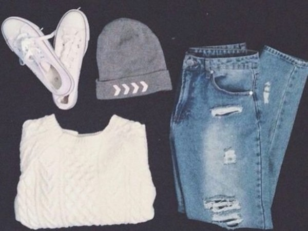hat sweater jeans shoes beanie jenas white grey white sweater