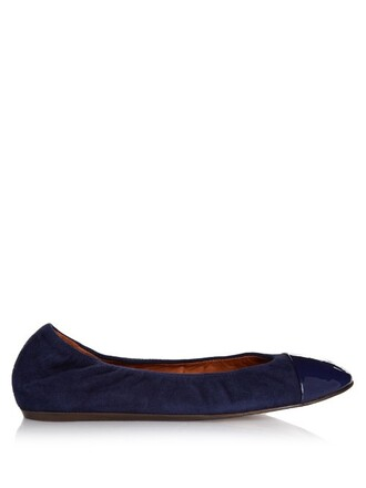 ballet flats ballet flats leather suede blue shoes