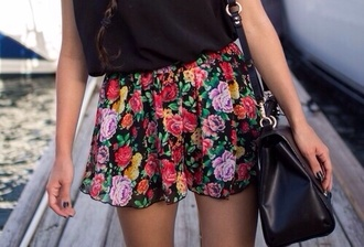 skirt pretty floral colorful summer spring skater skirt style girly fashion