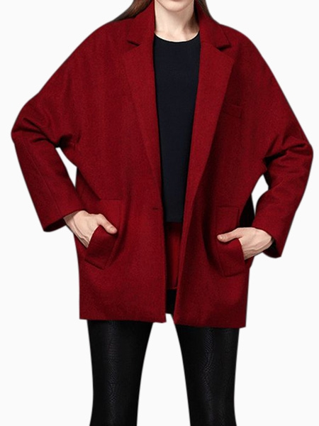 Oversize Blazer Coat in Wine Red | Choies