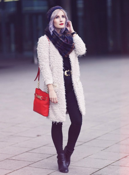 like a riot blogger scarf belt fuzzy coat red bag black jeans