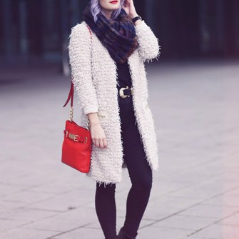scarf belt blogger black jeans red bag like a riot fuzzy coat scarf red