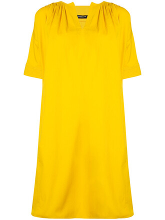 dress shift dress women cotton yellow orange