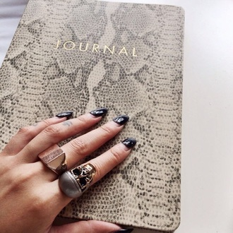 home accessory notebook snake print ring