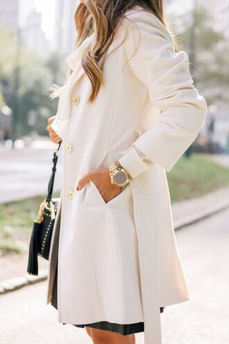 coat tumblr white coat gold watch watch bag black bag tassel