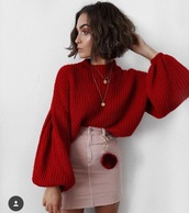 sweater,red sweather,red,baloon,sleeves,red knitwear,pink skirt,brown bob,baloon sleeves,knitted sweater