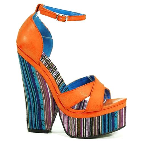 Heel To Toe >> Cutesy Originals – Andie Orange Tribal Slingback Wedge Platform Open toe Heel