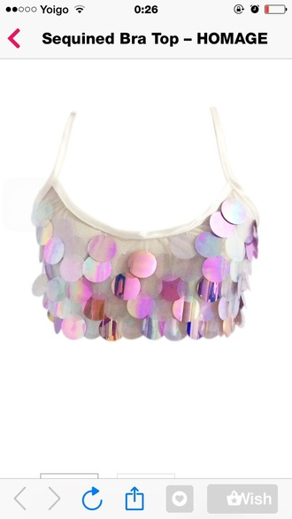 tank top white metallic hologram shiny pink