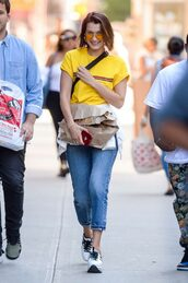 shoes,sneakers,jeans,top,t-shirt,bella hadid,model off-duty,streetstyle