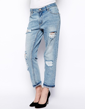 Pull&Bear | Pull&Bear Ripped Boyfriend Jeans at ASOS
