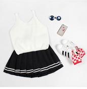 white top,crop tops,crop,adidas shoes,cute socks,black skirt