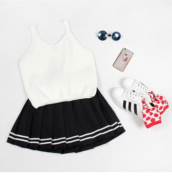 white top crop tops crop adidas shoes cute socks black skirt