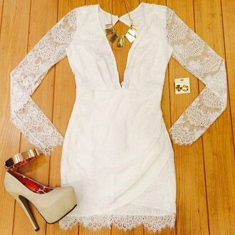 dress white dress lace dress mini dress summer summer outfits shoes high heels long sleeve dress plunge v neck open back sheer sexy perfect jewelry jewels gold gold necklace