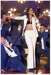 pants,blazer,selena gomez,bra,suit,white pants